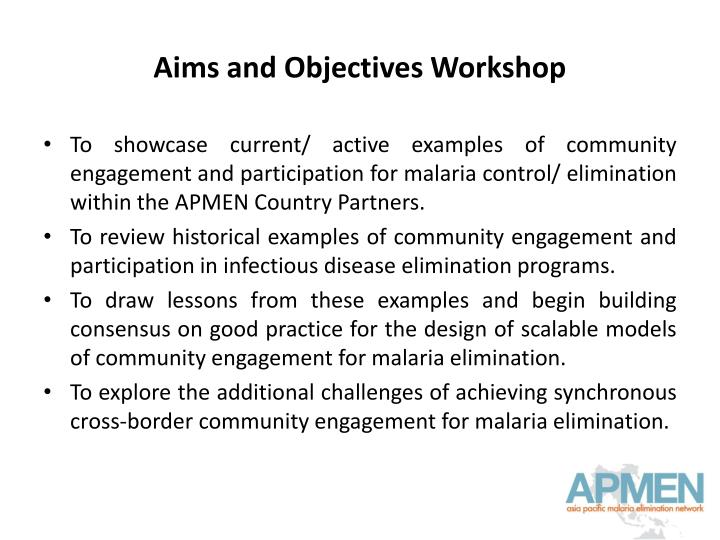 Aims and Objectives Workshop