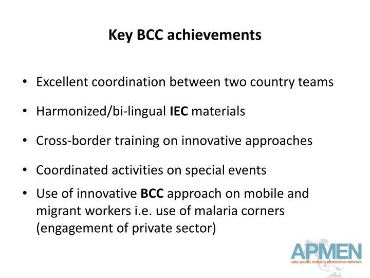 Key BCC achievements