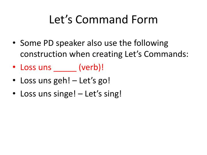 Let's Command Form