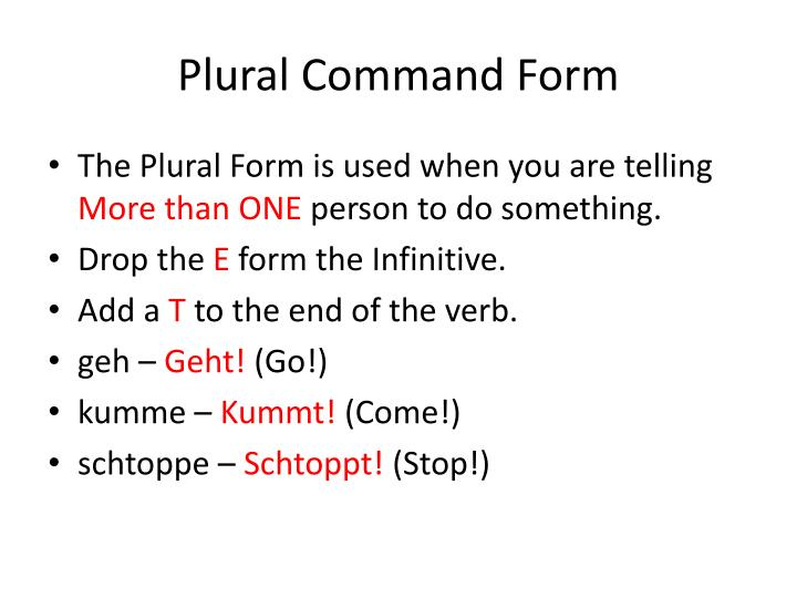 Plural Command Form