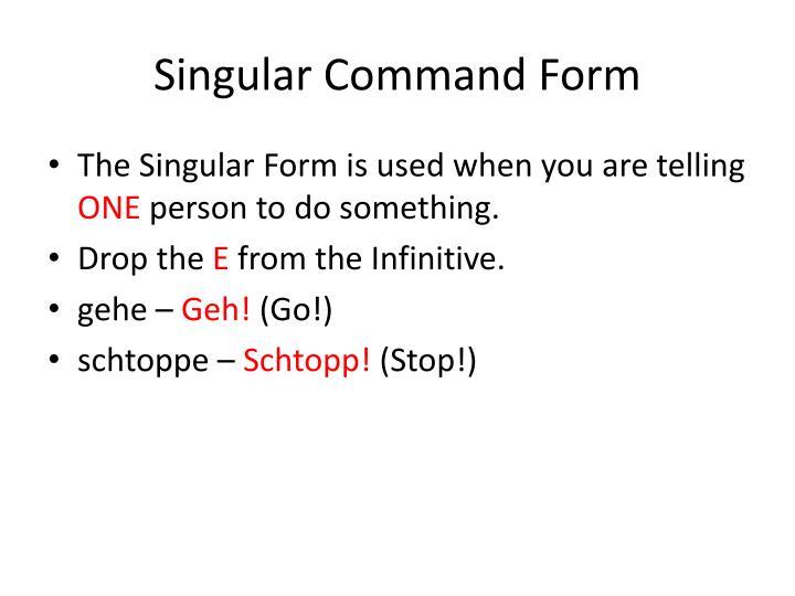 Singular Command Form