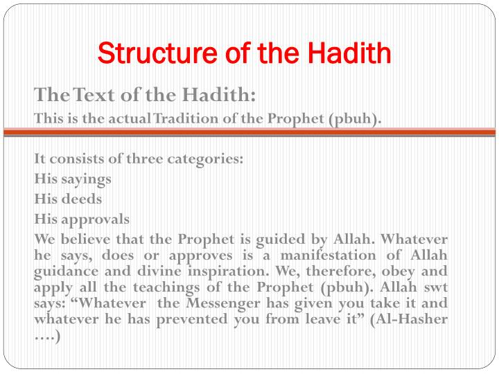 Structure of the hadith1