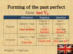 forming of the past perfect