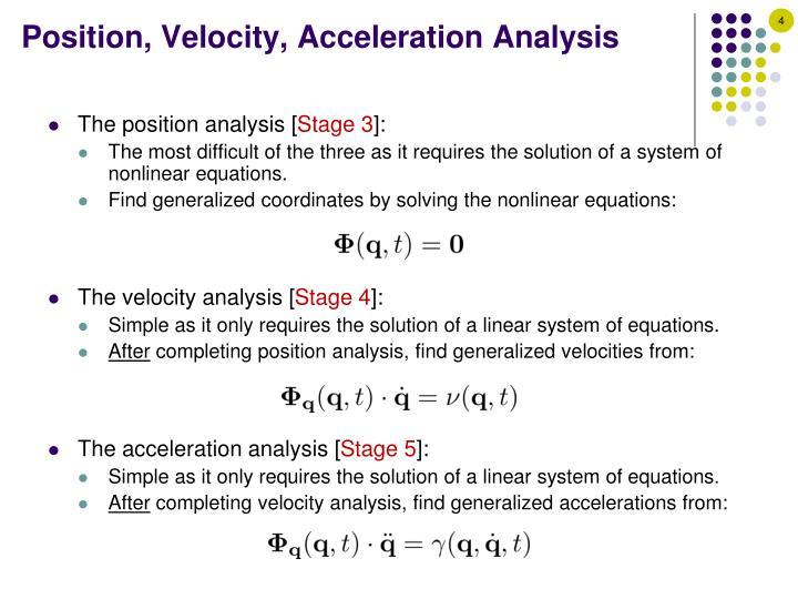 Position, Velocity, Acceleration Analysis