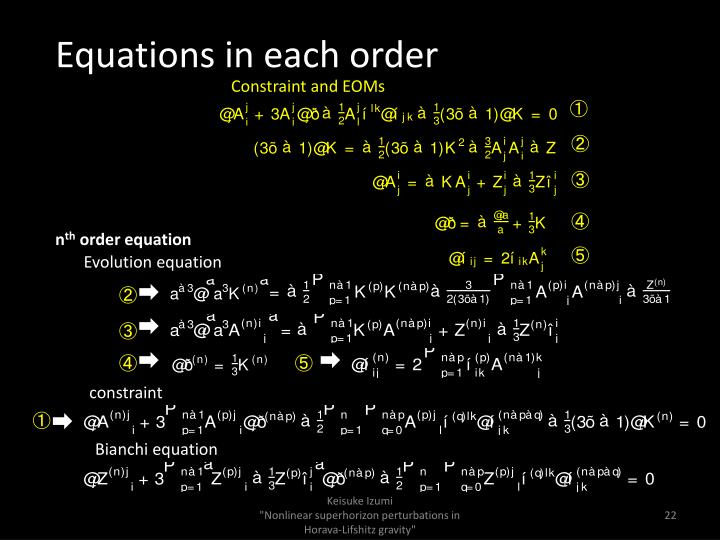 Equations in each order
