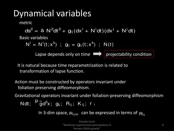Dynamical variables