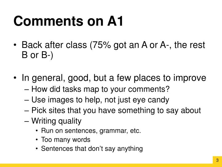 Comments on A1