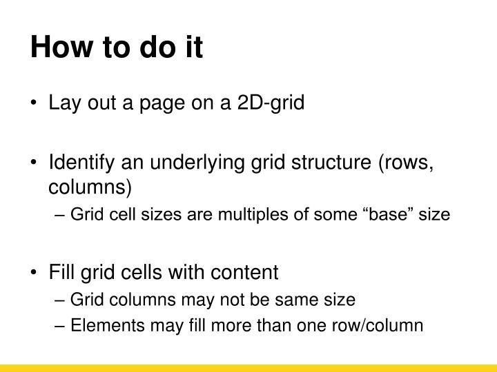 How to do it