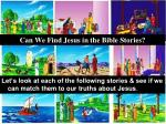 can we find jesus in the bible stories