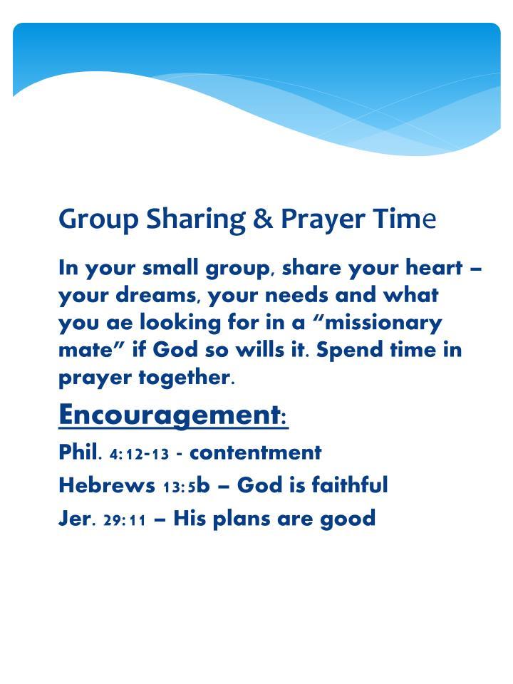 Group Sharing & Prayer Tim