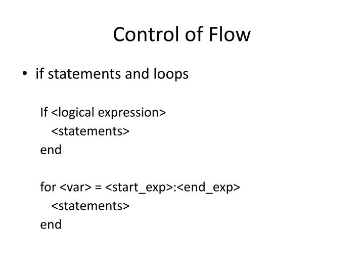 Control of Flow