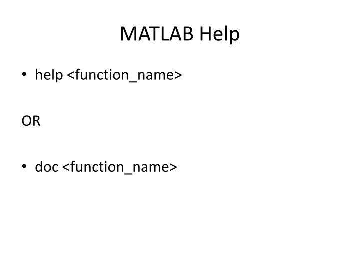 MATLAB Help