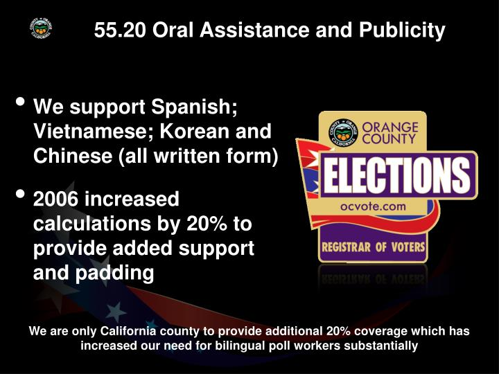 55.20 Oral Assistance and Publicity