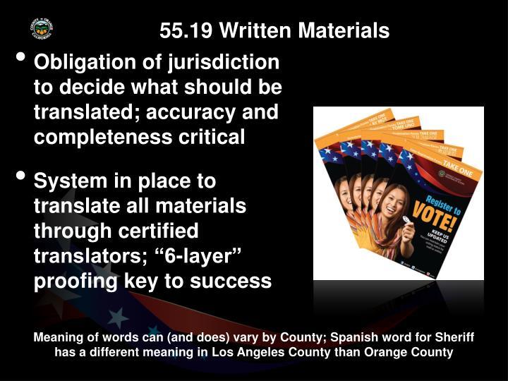 55.19 Written Materials