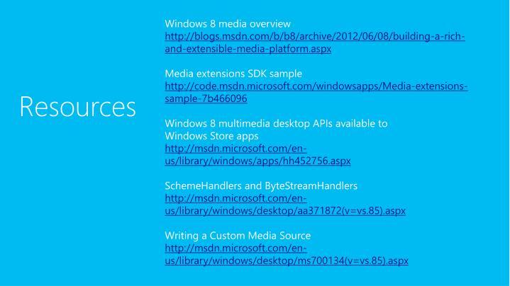 Windows 8 media overview