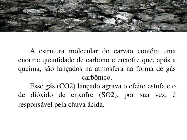 A estrutura molecular do carvão contém uma enorme quantidade de carbono e enxofre que, após a queima, são lançados na atmosfera na forma de gás carbônico.