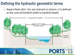 defining the hydraulic geometric terms