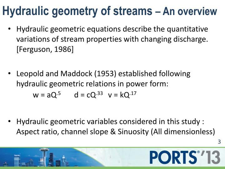 Hydraulic geometry of streams