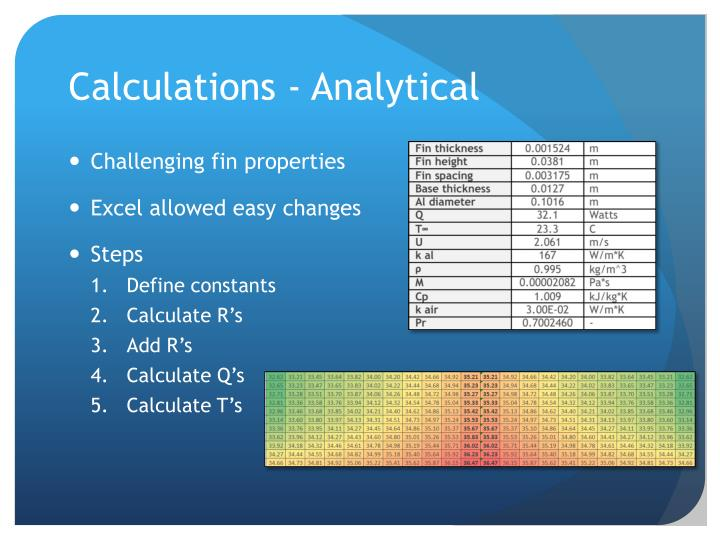 Calculations - Analytical