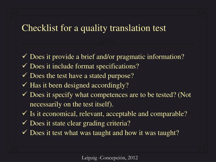 Checklist for a quality translation test