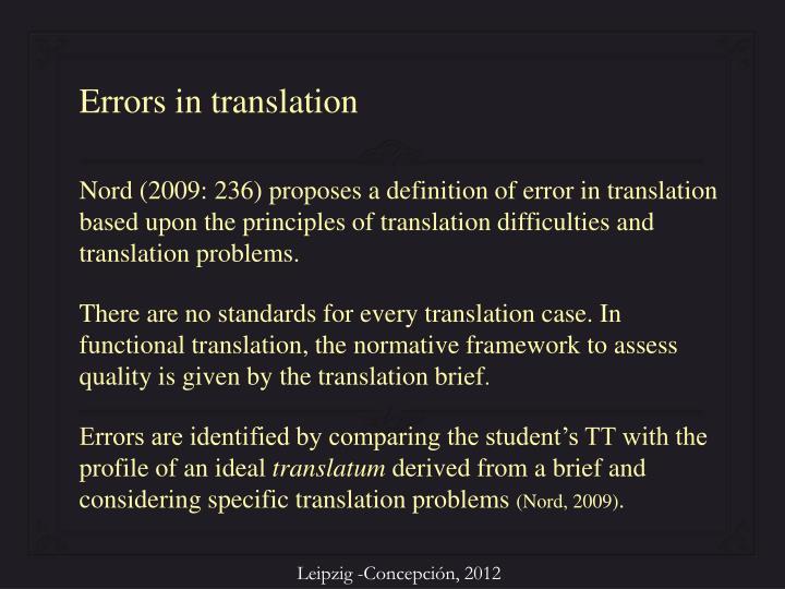 Errors in translation