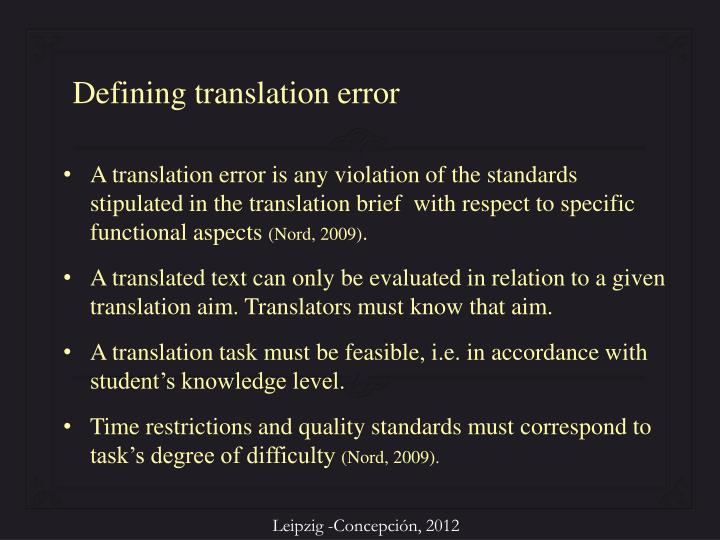 Defining translation error