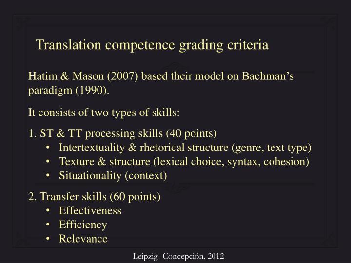 Translation competence grading criteria