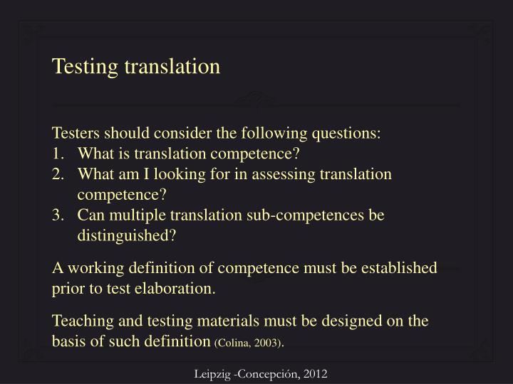Testing translation