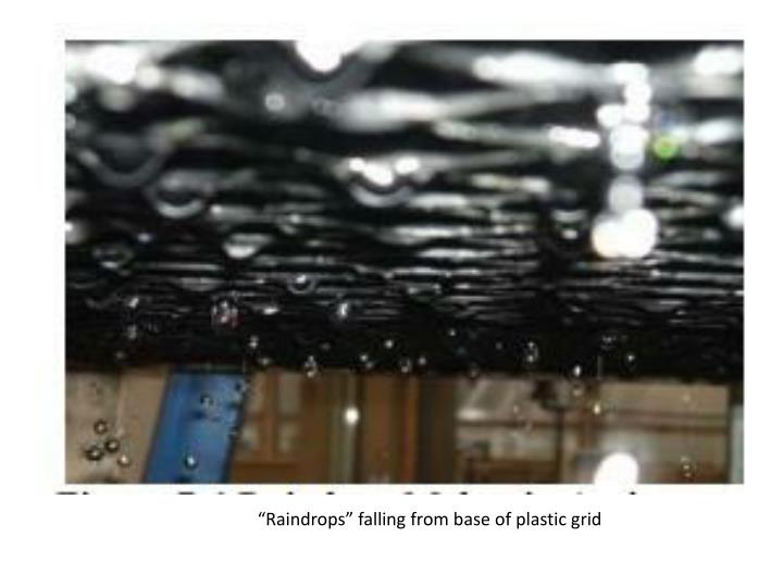 """Raindrops"" falling from base of plastic grid"