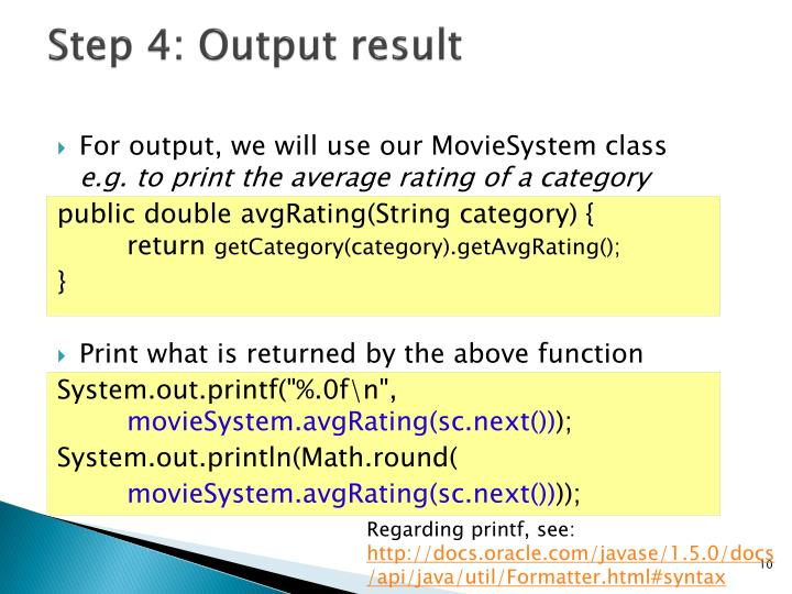 Step 4: Output result