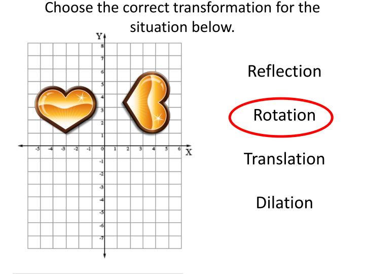 Choose the correct transformation for the situation below.