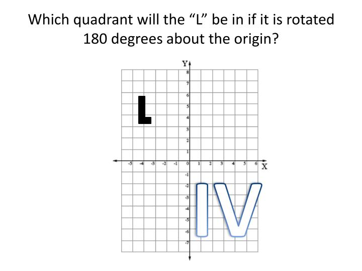 "Which quadrant will the ""L"" be in if it is rotated 180 degrees about the origin?"