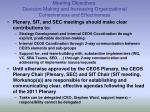 meeting objectives decision making and increasing organizational cohesiveness and effectiveness