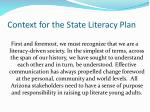 context for the state literacy plan