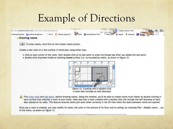 Example of Directions