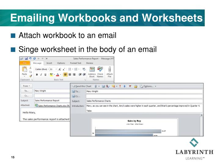 Emailing Workbooks and Worksheets