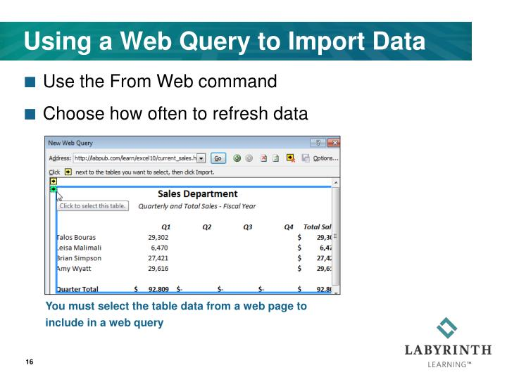 Using a Web Query to Import Data