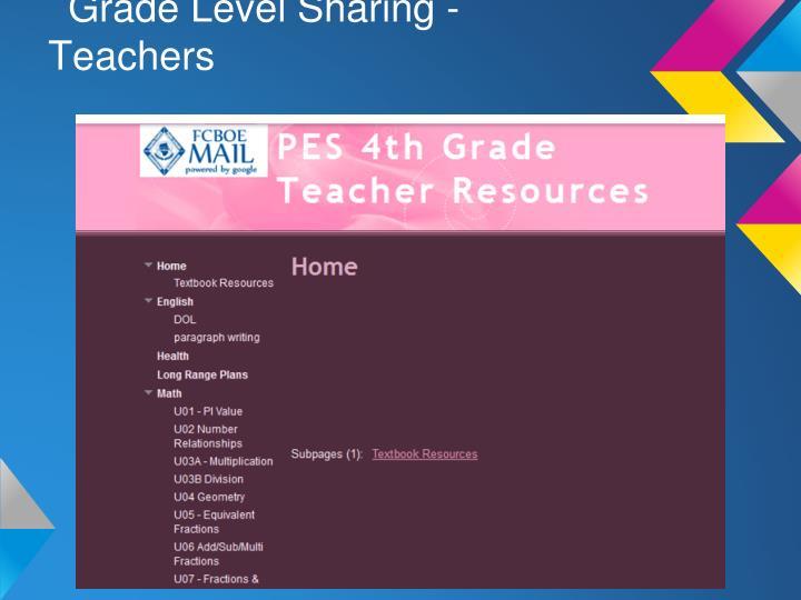 Grade Level Sharing - Teachers