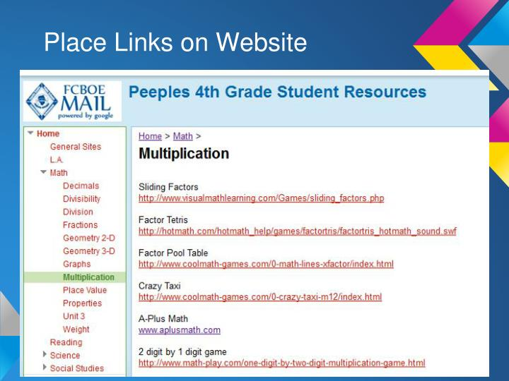 Place Links on Website