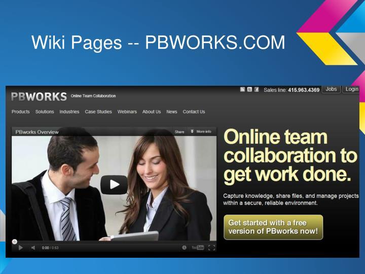 Wiki Pages -- PBWORKS.COM