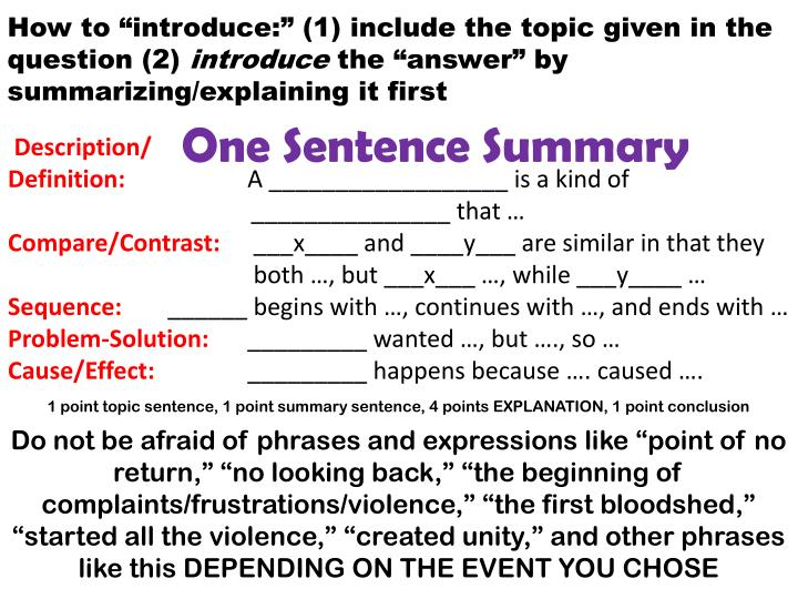 """How to """"introduce:"""" (1) include the topic given in the question (2)"""