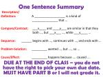 one sentence summary1