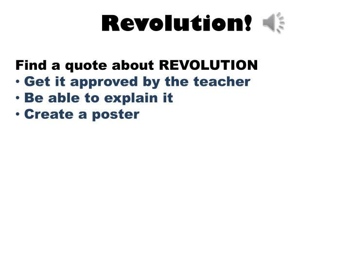 Find a quote about REVOLUTION