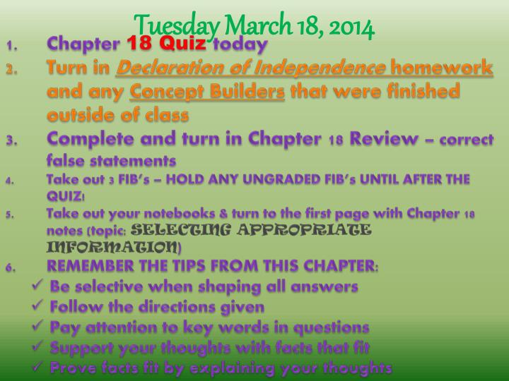 Tuesday March 18,