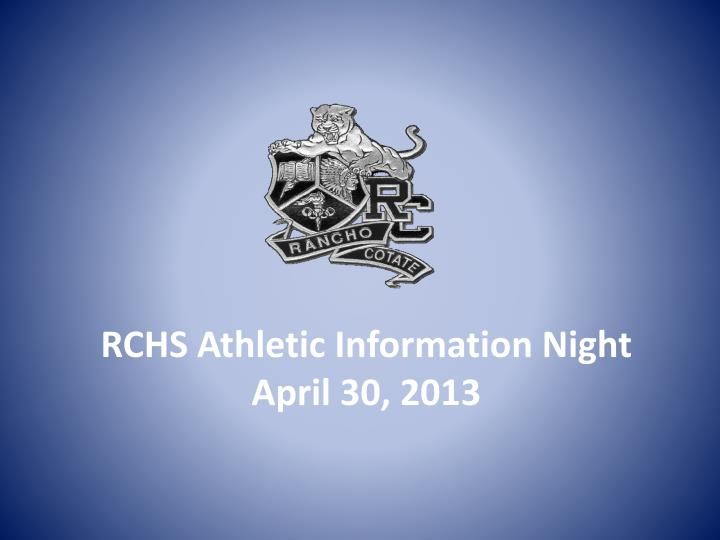 Rchs athletic information night april 30 2013