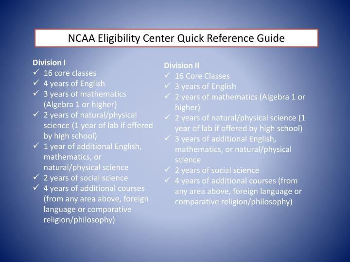 NCAA Eligibility Center Quick Reference Guide