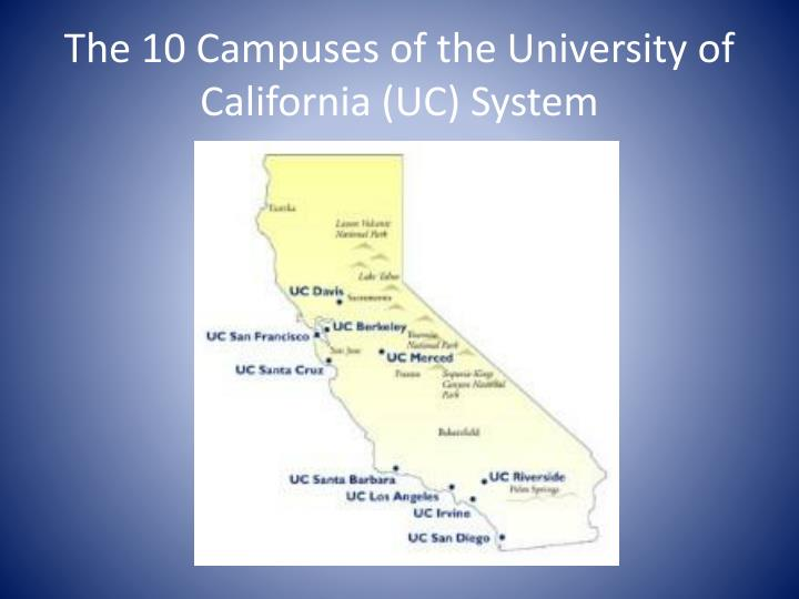 The 10 Campuses of the University of California (UC) System