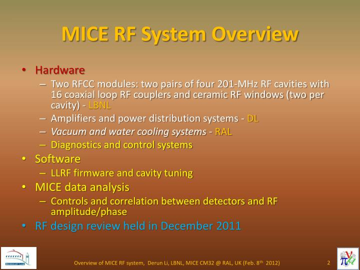 MICE RF System Overview