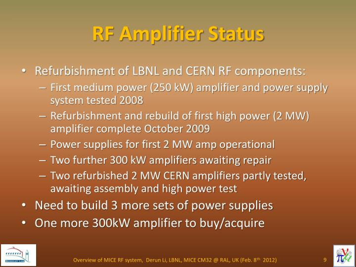 RF Amplifier Status