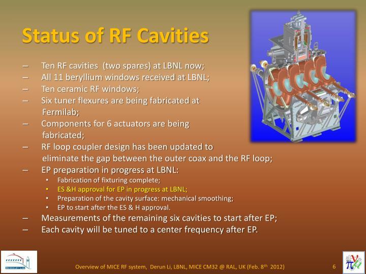 Status of RF Cavities